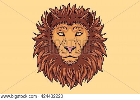 Gold Lion Head With Golden Eyes, Isolated Lion Face. Predatory Wildcat. Lion Silhouette, Logo And Ma