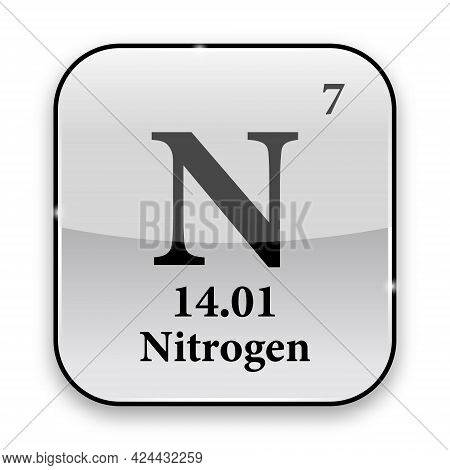 Nitrogen Symbol.chemical Element Of The Periodic Table On A Glossy White Background In A Silver Fram