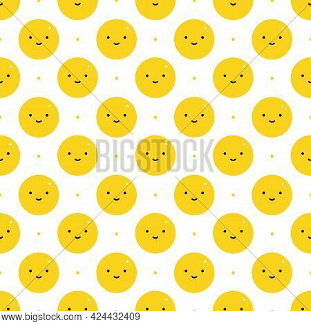 Cute Yellow Cartoon Style Smiling Ball Characters And Dots Vector Seamless Pattern Background.