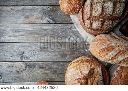 Assorted Homemade Gluten-free And Yeast-free Bread On Grey Wooden Background.