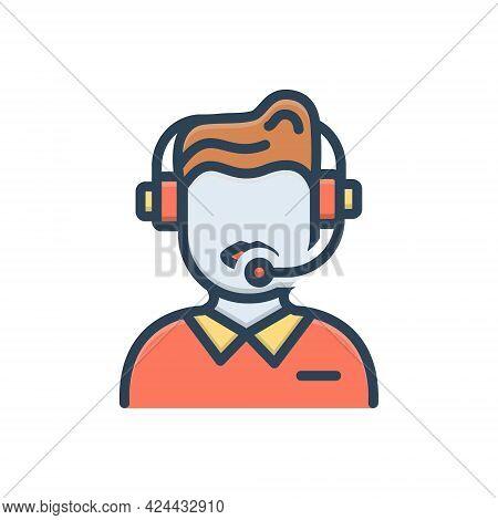 Color Illustration Icon For Customer-service Customer Service Call-center Helpline Operator Consulta