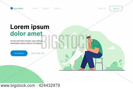 Cartoon Sad Man With Dog Flat Vector Illustration. Male Character Sitting On Chair And Looking At Pe