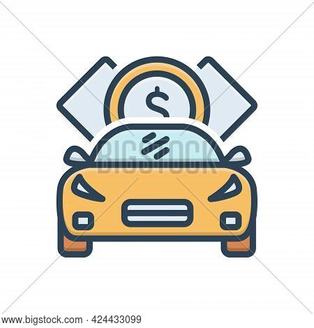 Color Illustration Icon For Loan Indebtedness Debt Minus Loaning Borrow Car