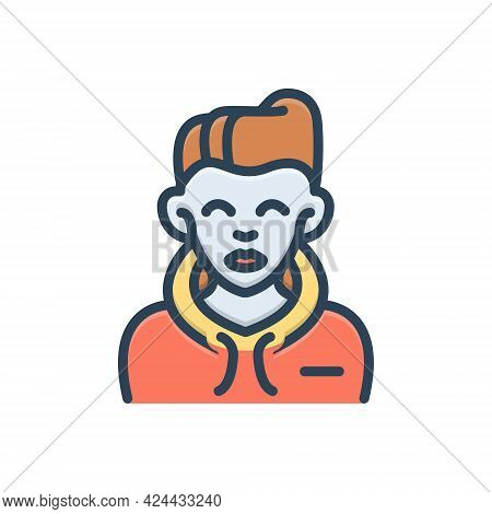 Color Illustration Icon For Boy Bloke Lad Youngster Juvenile Youthful