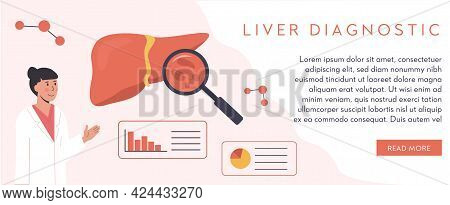Web Banner Template. Liver Organ With Magnifying Glass. Hepatitis Cure. Researcher Studying Liver Ti