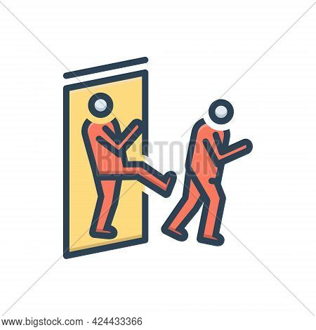 Color Illustration Icon For Out Exclude Withdraw Keep-out Not-here