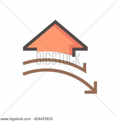 House Price Or Value Decrease Vector Icon. Consist Of Home Or House Building,  Drop Down Of Arrow. L