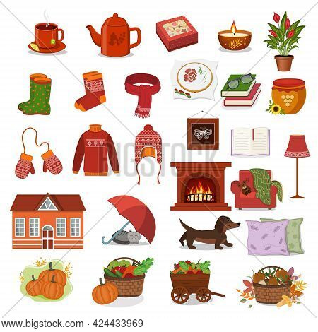 Large Autumn Set With Elements Of Autumn, Comfort And Warmth, Color Vector Illustration In The Carto