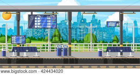 Modern Railway Station For High Speed Train. Platform With Schedule. Super Streamlined Train. Passen