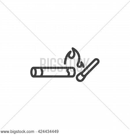Cigarette And Match Line Icon. Linear Style Sign For Mobile Concept And Web Design. Burning Cigarett