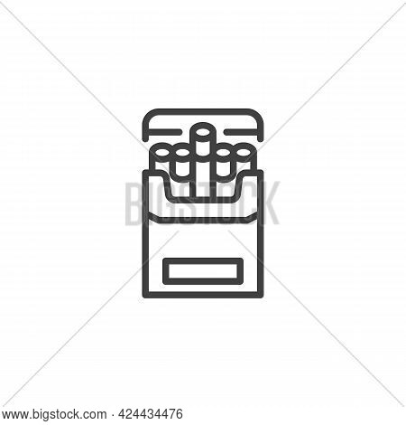 Pack Of Cigarettes Line Icon. Linear Style Sign For Mobile Concept And Web Design. Open Cigarettes B