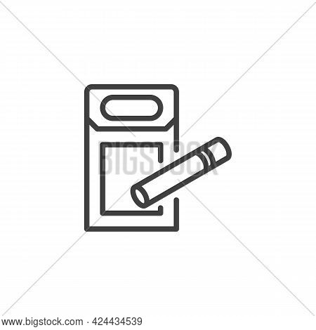 Cigarette Box Line Icon. Linear Style Sign For Mobile Concept And Web Design. Pack Of Cigarettes Out