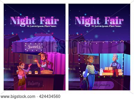 Night Fair Posters With Food Market On Street. Vector Flyers Of Festive Marketplace With Cartoon Ill