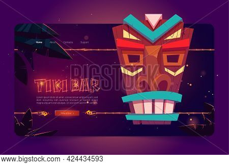 Tiki Bar Website With Wooden Tribal Mask And Burning Torches On Bamboo Stick. Vector Landing Page Of
