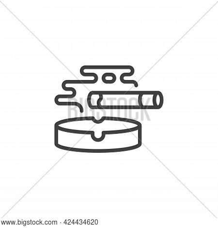 Ashtray And Cigarette Line Icon. Linear Style Sign For Mobile Concept And Web Design. Smoking Cigare