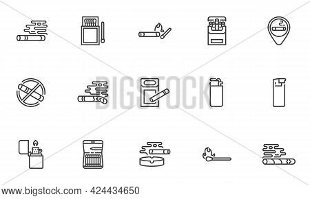 Cigarette Smoking Line Icons Set. Linear Style Symbols Collection, Outline Signs Pack. Tobacco Smoke