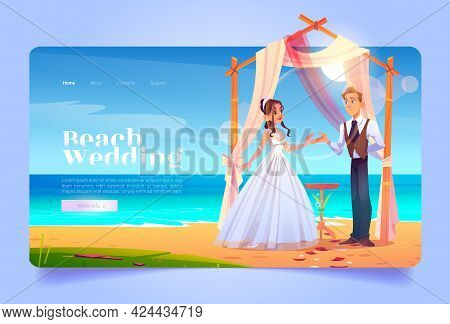 Beach Wedding Cartoon Landing Page, Bride And Groom Get Married Under Draped Arch On Seaside. Marria