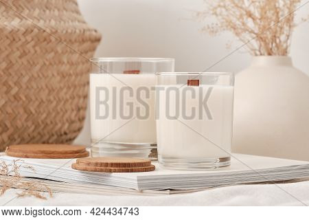 Handmade Scented Candles In A Glass With A Wooden Lid. Soy Wax Candles With A Wooden Wick.