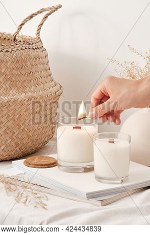 Girl Lights Soy Wax Candles With A Wooden Wick. Handmade Candles.