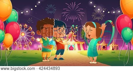 Kids In Amusement Park With Circus, Ferris Wheel And Roller Coaster. Cheerful Children Friends Visit