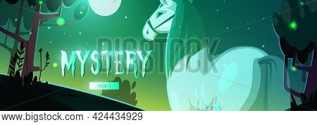 Banner Of Mystery With Glowing Horse Ghost In Dark Forest At Night. Vector Header With Cartoon Fanta