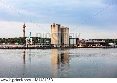 modern commercial seaport in Stockholm, Sweden