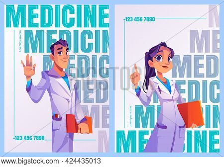 Medicine Posters With Doctors In Professional Uniform. Vector Flyers With Cartoon Illustration Of Pe