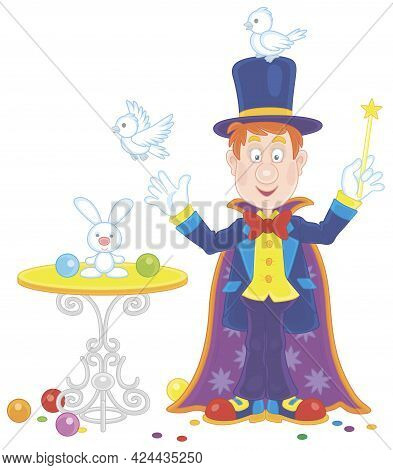 Artful Circus Magician Illusionist With A Mysterious Hat And A Magic Wand, Conjuring Tricks With A S