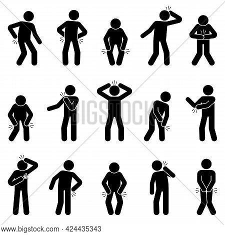 Stick Figure Man With Multiple Joint Paints, Headache, Stomachache, Knee, Shoulder, Elbow, Heart, Hi