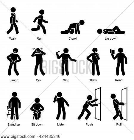 Action Verbs Stick Figure Man Walking, Running, Crawling, Lying Down, Laughing, Crying, Singing, Thi