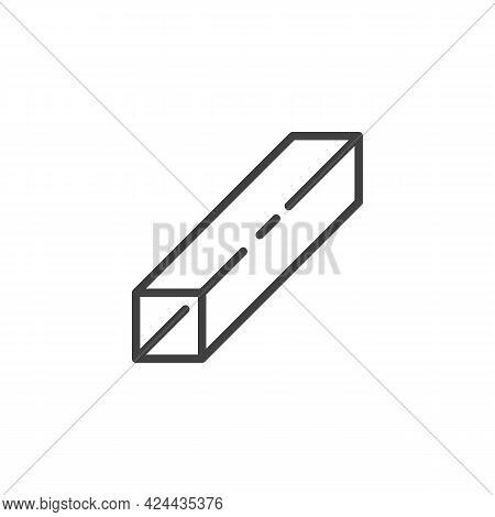 Square Steel Profile Line Icon. Linear Style Sign For Mobile Concept And Web Design. Square Metal Pi