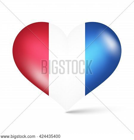 3d Glossy Heart Shape National Flag Of Netherlands Vector Illustration