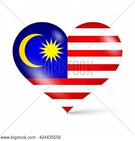 3d Glossy Heart Shape National Flag Of Malaysia Vector Illustration