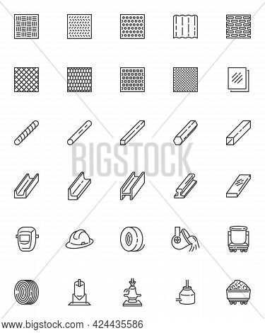 Metallurgy Production Line Icons Set. Linear Style Symbols Collection, Outline Signs Pack. Steel Pro