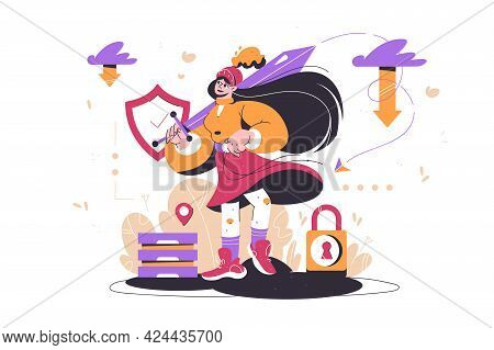 Girl As Symbol For Protecting Information Vector Illustration. Data Protection Metaphors Flat Style.