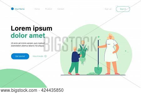 Mother And Son Planting Creative Idea. Flat Vector Illustration. Woman With Shovel Helping Little Bo