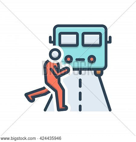 Color Illustration Icon For Impediment Obstacle Obstruction Hindrance Interrupt Person Across-the-tr