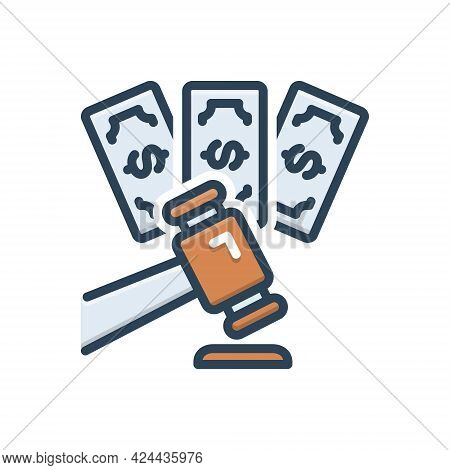 Color Illustration Icon For Impose Inflict Foist Forfeit Penalty Fine Mulct Surcharge