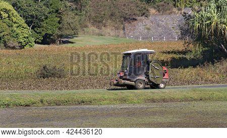 Mackay, Queensland, Australia - June 2021: A Worker In The Botanic Gardens Drives A Mowing Machine F