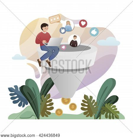 Lead Generation. Isolated Flat Style Colored Illustration. Marketing Solution. Conversion, Crm, Cust