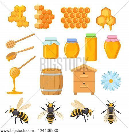 Colorful Set Of Honey Symbols. Cartoon Vector Illustration. Bee Honeycomb, Wooden Beehive, Barrel, G