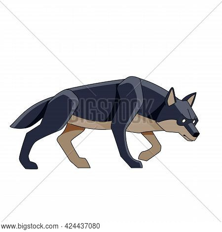 Black Wolf Watches For Potential Prey. Cartoon Character Of A Dangerous Mammal Animal. A Wild Forest