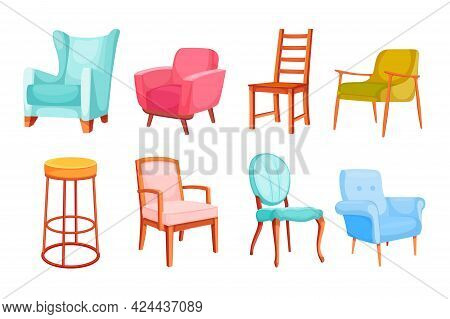 Different Colorful Chairs And Armchairs Vector Illustration Set. Luxury Empty Furniture For Office,