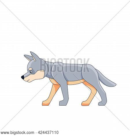 White Cub Wolf For A Walk. Cartoon Character Of A Dangerous Mammal Animal. A Wild Forest Creature Wi