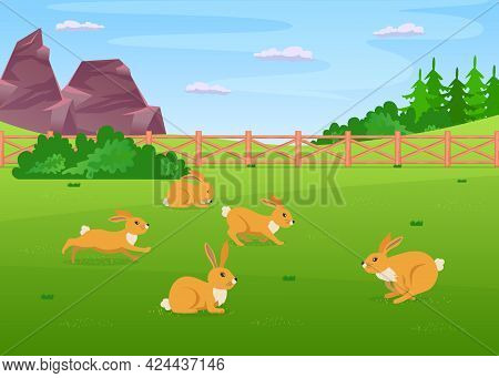 Cute Rabbit Characters Running Across Field On Farm. Small Animals With Long Ears Jumping Around And
