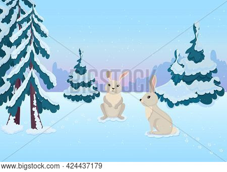 Cute Hare Characters In Winter Forest. Mammals With Long Ears And White Fur Sitting On Ground, Firs