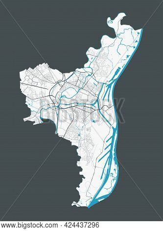 Strasbourg Map. Detailed Map Of Strasbourg City Administrative Area. Cityscape Panorama. Royalty Fre