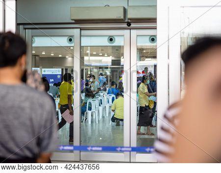 Bangkok, Thailand - 21 Jun 2021: At Bang Sue Grand Station Bangkok Thailand : Health Workers At Work