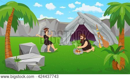 Prehistoric People Making Fire Near Cave. Cartoon Vector Illustration. Couple In Animal Skins, Man M