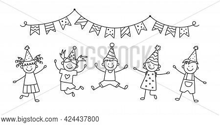 A Group Of Happy Jumping Kids At A Birthday Party. Children Jump Under The Bunting Flags On A Fun Ho